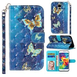 Rankine Butterfly 3D Leather Phone Holster Wallet Case for Samsung Galaxy S5 G900