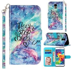 Blue Starry Sky 3D Leather Phone Holster Wallet Case for Samsung Galaxy S5 G900
