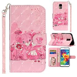 Pink Bear 3D Leather Phone Holster Wallet Case for Samsung Galaxy S5 G900