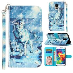 Snow Wolf 3D Leather Phone Holster Wallet Case for Samsung Galaxy S5 G900