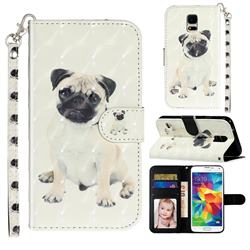 Pug Dog 3D Leather Phone Holster Wallet Case for Samsung Galaxy S5 G900