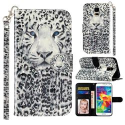 White Leopard 3D Leather Phone Holster Wallet Case for Samsung Galaxy S5 G900