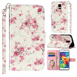 Rambler Rose Flower 3D Leather Phone Holster Wallet Case for Samsung Galaxy S5 G900