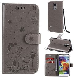 Embossing Bee and Cat Leather Wallet Case for Samsung Galaxy S5 G900 - Gray
