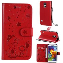 Embossing Bee and Cat Leather Wallet Case for Samsung Galaxy S5 G900 - Red