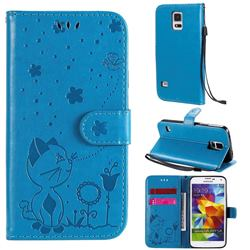 Embossing Bee and Cat Leather Wallet Case for Samsung Galaxy S5 G900 - Blue
