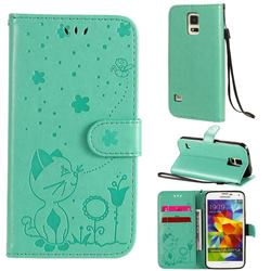 Embossing Bee and Cat Leather Wallet Case for Samsung Galaxy S5 G900 - Green