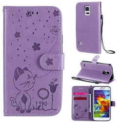 Embossing Bee and Cat Leather Wallet Case for Samsung Galaxy S5 G900 - Purple