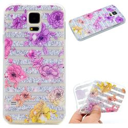 Striped Roses Super Clear Soft TPU Back Cover for Samsung Galaxy S5 Mini G800