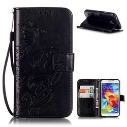 Embossing Butterfly Flower Leather Wallet Case for Samsung Galaxy S5 Mini - Black