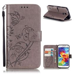 Embossing Butterfly Flower Leather Wallet Case for Samsung Galaxy S5 Mini - Grey