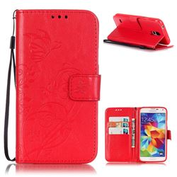 Embossing Butterfly Flower Leather Wallet Case for Samsung Galaxy S5 Mini - Red
