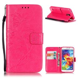 Embossing Butterfly Flower Leather Wallet Case for Samsung Galaxy S5 Mini - Rose
