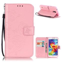 Embossing Butterfly Flower Leather Wallet Case for Samsung Galaxy S5 Mini - Pink