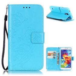 Embossing Butterfly Flower Leather Wallet Case for Samsung Galaxy S5 Mini - Blue