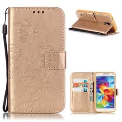 Embossing Butterfly Flower Leather Wallet Case for Samsung Galaxy S5 Mini - Champagne