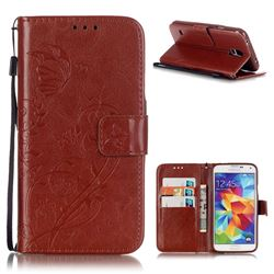 Embossing Butterfly Flower Leather Wallet Case for Samsung Galaxy S5 Mini - Brown