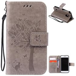 Embossing Butterfly Tree Leather Wallet Case for Samsung Galaxy S5 Mini - Grey