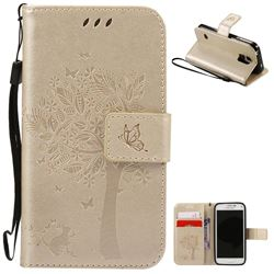 Embossing Butterfly Tree Leather Wallet Case for Samsung Galaxy S5 Mini - Champagne