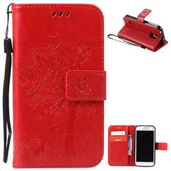 Embossing Butterfly Tree Leather Wallet Case for Samsung Galaxy S5 Mini - Red