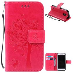Embossing Butterfly Tree Leather Wallet Case for Samsung Galaxy S5 Mini - Rose