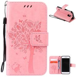 Embossing Butterfly Tree Leather Wallet Case for Samsung Galaxy S5 Mini - Pink