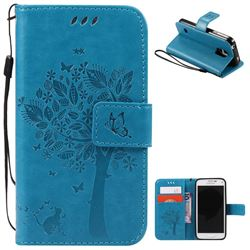 Embossing Butterfly Tree Leather Wallet Case for Samsung Galaxy S5 Mini - Blue