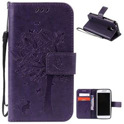 Embossing Butterfly Tree Leather Wallet Case for Samsung Galaxy S5 Mini - Purple
