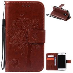 Embossing Butterfly Tree Leather Wallet Case for Samsung Galaxy S5 Mini - Brown