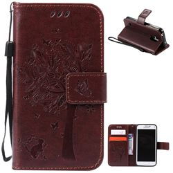 Embossing Butterfly Tree Leather Wallet Case for Samsung Galaxy S5 Mini - Coffee