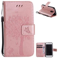 Embossing Butterfly Tree Leather Wallet Case for Samsung Galaxy S5 Mini G800 - Rose Pink