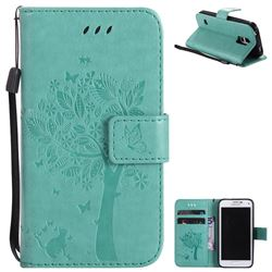 Embossing Butterfly Tree Leather Wallet Case for Samsung Galaxy S5 Mini G800 - Cyan