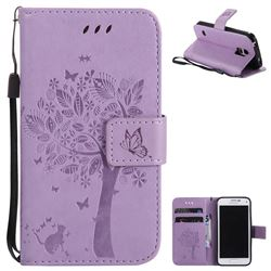Embossing Butterfly Tree Leather Wallet Case for Samsung Galaxy S5 Mini G800 - Violet