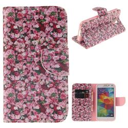 Intensive Floral PU Leather Wallet Case for Samsung Galaxy S5 Mini G800