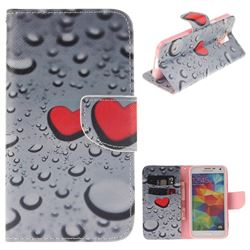Heart Raindrop PU Leather Wallet Case for Samsung Galaxy S5 Mini G800