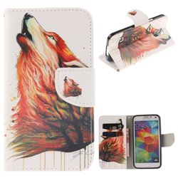 Color Wolf PU Leather Wallet Case for Samsung Galaxy S5 Mini G800