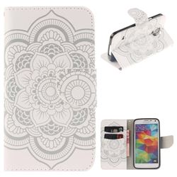 White Flowers PU Leather Wallet Case for Samsung Galaxy S5 Mini G800