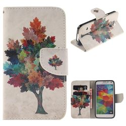 Colored Tree PU Leather Wallet Case for Samsung Galaxy S5 Mini G800