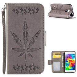 Intricate Embossing Maple Leather Wallet Case for Samsung Galaxy S5 Mini G800 - Gray