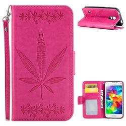 Intricate Embossing Maple Leather Wallet Case for Samsung Galaxy S5 Mini G800 - Rose