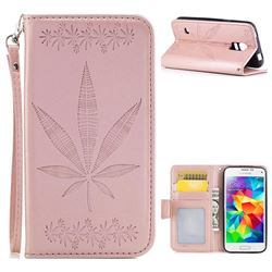 Intricate Embossing Maple Leather Wallet Case for Samsung Galaxy S5 Mini G800 - Rose Gold