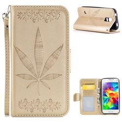 Intricate Embossing Maple Leather Wallet Case for Samsung Galaxy S5 Mini G800 - Champagne