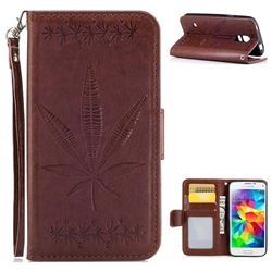 Intricate Embossing Maple Leather Wallet Case for Samsung Galaxy S5 Mini G800 - Brown