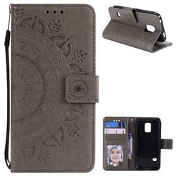 Intricate Embossing Datura Leather Wallet Case for Samsung Galaxy S5 Mini G800 - Gray
