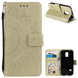 Intricate Embossing Datura Leather Wallet Case for Samsung Galaxy S5 Mini G800 - Golden