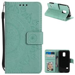 Intricate Embossing Datura Leather Wallet Case for Samsung Galaxy S5 Mini G800 - Mint Green