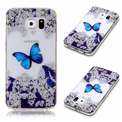 Blue Butterfly Flower Super Clear Soft TPU Back Cover for Samsung Galaxy S6 G920