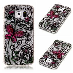 Butterfly Flowers Super Clear Soft TPU Back Cover for Samsung Galaxy S6 G920