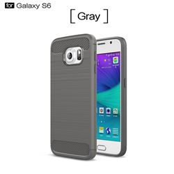 Luxury Carbon Fiber Brushed Wire Drawing Silicone TPU Back Cover for Samsung Galaxy S6 G920 (Gray)