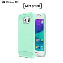 Luxury Carbon Fiber Brushed Wire Drawing Silicone TPU Back Cover for Samsung Galaxy S6 G920 (Mint Green)
